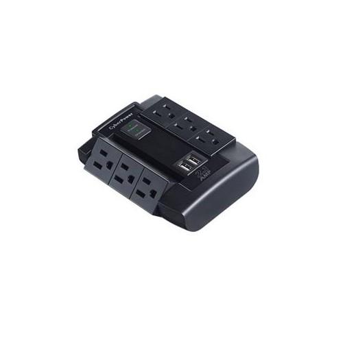CYBERPOWER 2-2.1A USB PORTS 6 OUTLETS SWIVEL WALL TAP PLUG 1200 JOULES $75K CEG CSP600WSU