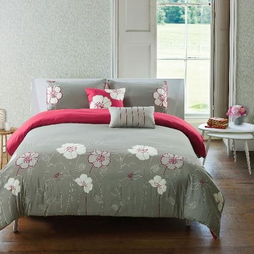 Ophelia 5 Pc Microfiber Comforter Set,Grey-Berry,King