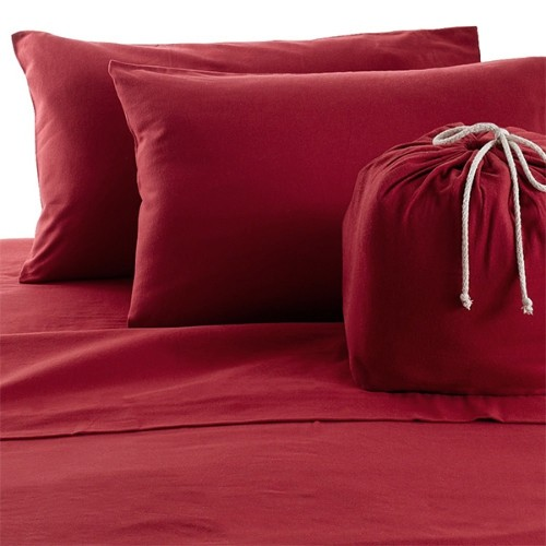 Solid Colour Cotton Flannel Sheet Set Red Twin Best Buy Canada