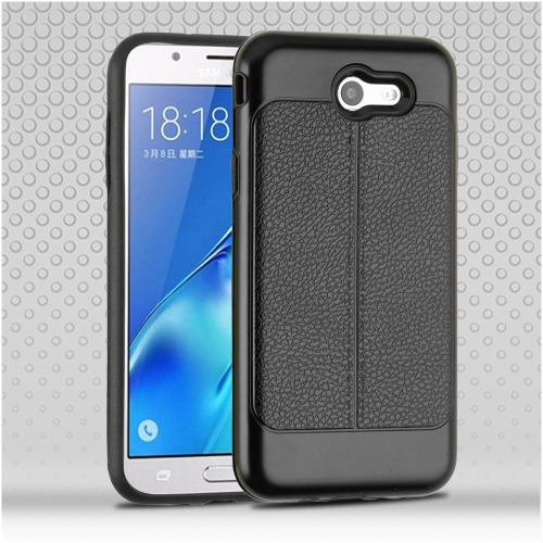 Insten Hard Hybrid Leatherette TPU Case For Samsung Galaxy Halo/J7 (2017)/J7 Prime/J7 V, Black