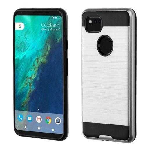 Insten Hard Dual Layer Brushed TPU Cover Case For Google Pixel 2 XL, Silver/Black