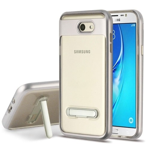 Insten Hard Case w/stand For Samsung Galaxy Halo/J7 (2017)/J7 Prime/J7 V, Clear/Silver