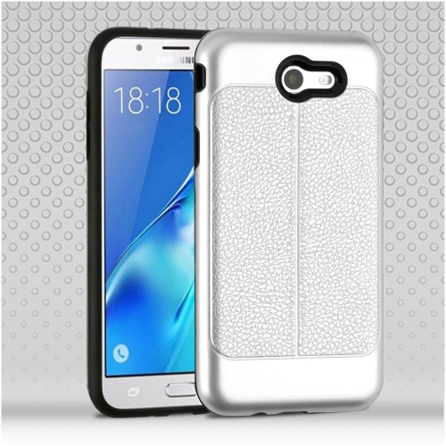 Insten Hard Leatherette TPU Case For Samsung Galaxy Halo/J7 (2017)/J7 Prime/J7 V, Silver