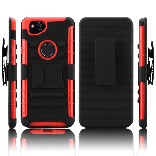 Insten Hard Dual Layer TPU Cover Case w/stand/Holster For Google Pixel 2, Black/Red