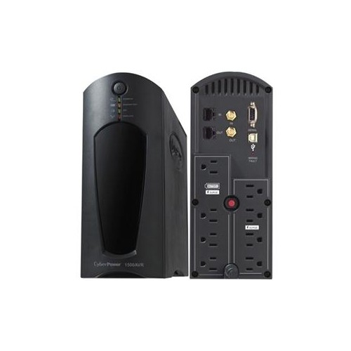 CYBERPOWER 1200VA UPS COMPACT QUIET AVR GREEN 8OUT 5-15P USB RJ11/45/COAX CP1200AVR