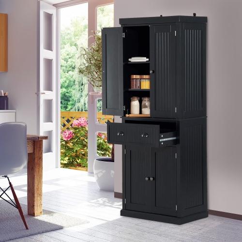 HOMCOM 72Inch Wood Kitchen Pantry Cabinet (Black) - Online Only & HOMCOM 72Inch Wood Kitchen Pantry Cabinet (Black) : Buffets ...