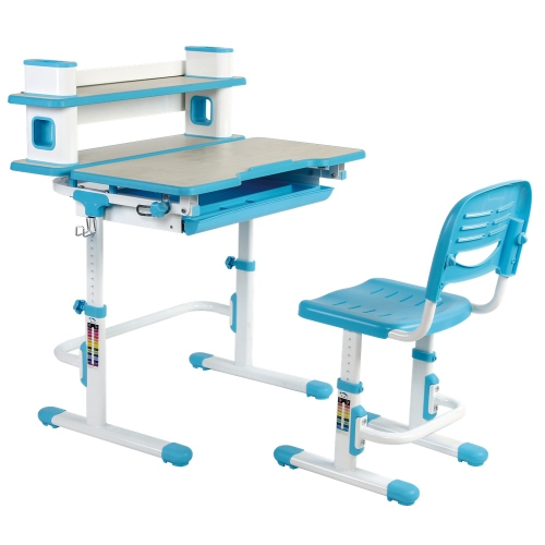Astounding Einstein Kids Desk And Chair Set Ergonomic Childrens Desk Kids Table With Book Shelf Blue Arts Table W Tilt Feature Gmtry Best Dining Table And Chair Ideas Images Gmtryco