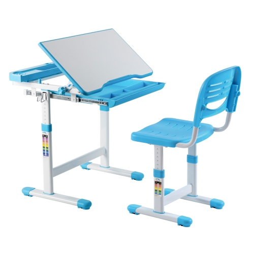 Tremendous Avicenna Kids Desk Chair Set Children Table W Tilt Feature Blue Study Table And Chair Set Cjindustries Chair Design For Home Cjindustriesco