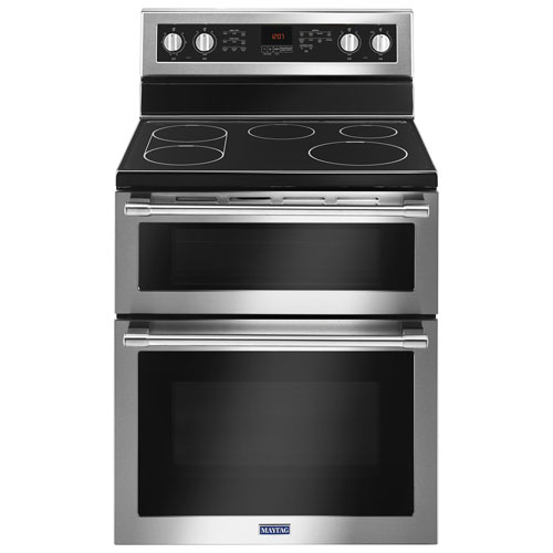 """Maytag 30"""" 6.7 Cu. Ft. Double Oven 5-Element Freestanding Electric Range - Stainless"""