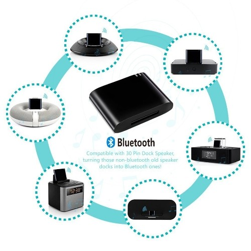 Bluetooth A2DP Wireless Music Receiver for 30-pin iPhone iPad iPod Dock  Speaker Expansion Audio Adapter Music for iPhone 4