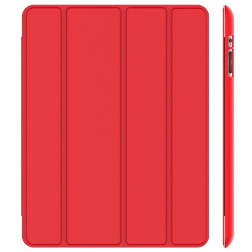 JETech® Gold Slim-Fit Folio Case Cover with Back Case for Apple the New iPad 4 & 3 / iPad 2 (Red)