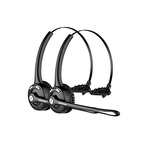 bfe82178788 Mpow Pro (2-Pack) Truck Driver Bluetooth Headset Office Headset Wireless  Over the Head Earpiece w Mic On-Ear Headset for C   Bluetooth Headsets -  Best Buy ...