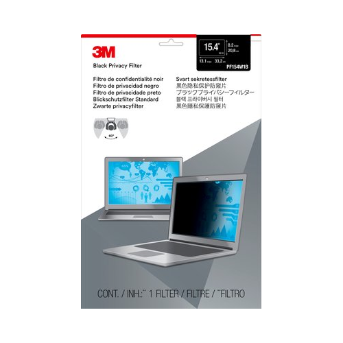 """3M Privacy Filter for 15.4"""" Widescreen Laptop - Black - (PF154W1B)"""