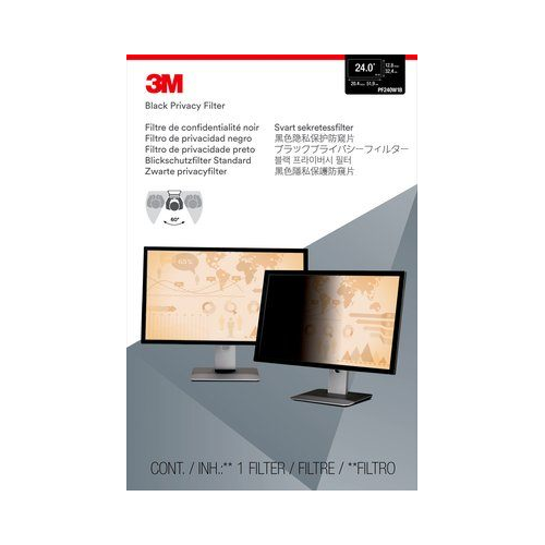 "3M Privacy Filter for 24"" Widescreen Monitor - Black - (PF240W1B)"