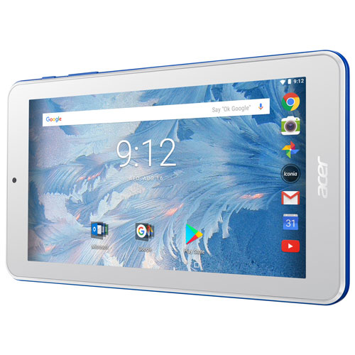 Tablette 7 po 16 Go Android 7.0 Iconia One d'Acer avec processeur quadruple coeur MT8167 - Bleu