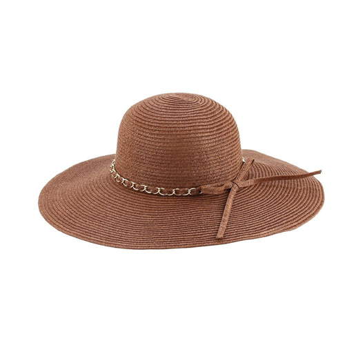 dd0d6712d00 Access Headwear Sun Styles Lauren Ladies Large Brim Sun Hat with Accent  Chain