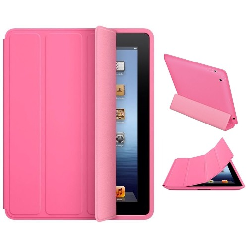 Exian iPad 2/3/4 Triple folded Smart Flip Case Hot Pink