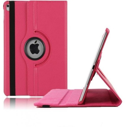 "Exian New iPad 2017 9.7"" PU Leather Rotating Flip Case with Stand Hot Pink"