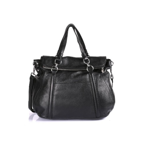 Karla Hanson Women's Premium Leather Laptop Satchel Bag Black