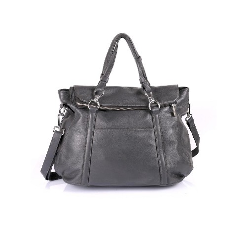 Karla Hanson Women's Premium Leather Laptop Satchel Bag Grey
