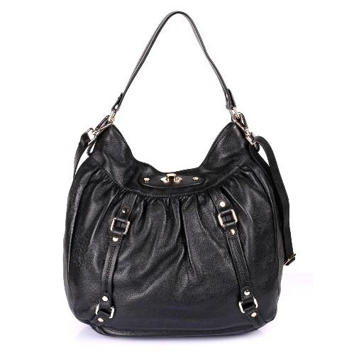 Karla Hanson Women's Premium Leather Laptop Shoulder Bag Black