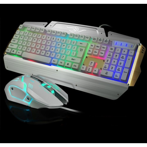 axGear USB Gaming Keyboard and Mouse Combo Set USB LED Light Backlit PC Computer Gamer White