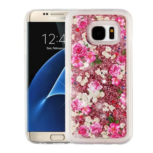Insten Quicksand Glitter Rose Hard Plastic TPU Case For Samsung Galaxy S7, Gold