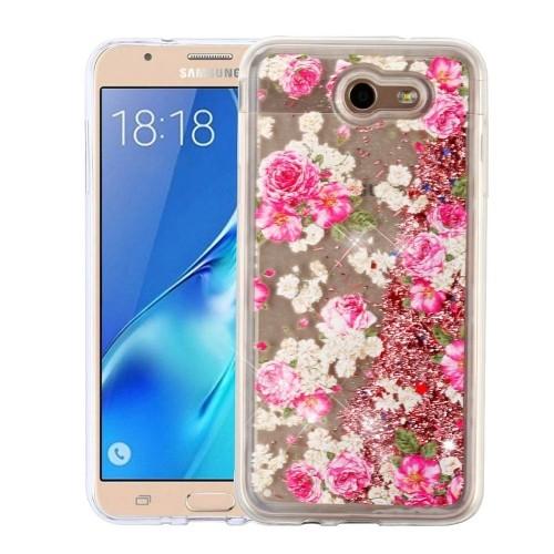 Insten Quicksand Glitter Rose Hard Case For Samsung Galaxy Halo/J7 (2017)/J7 Perx/J7 V, Gold