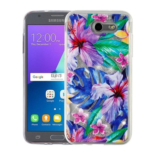 Insten Quicksand Glitter Hibiscus Flowers Hard Case For Samsung Galaxy J3 (2017)/J3 Emerge