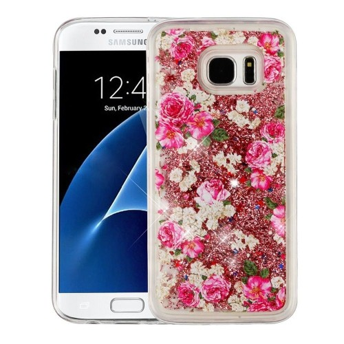 Insten Quicksand Glitter Rose Hard Plastic TPU Cover Case For Samsung Galaxy S7 Edge, Gold