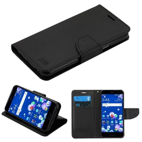 Insten MyJacket Flip Leather Fabric Cover Case w/stand/card holder For HTC U11, Black