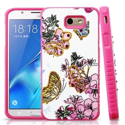 Insten Flowers Hard Hybrid Plastic Case For Samsung Galaxy Halo/J7 (2017)/J7 Perx/J7 V