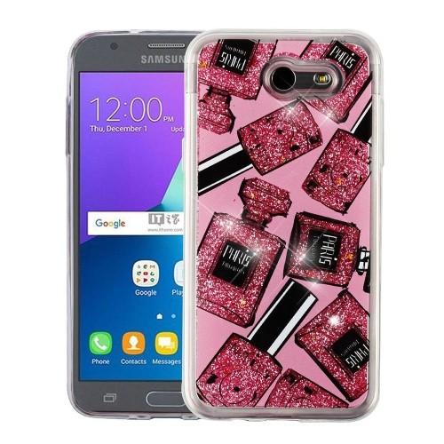 Insten Quicksand Glitter Perfume Bottle Hard Case For Samsung Galaxy J3 (2017)/J3 Emerge, Pink
