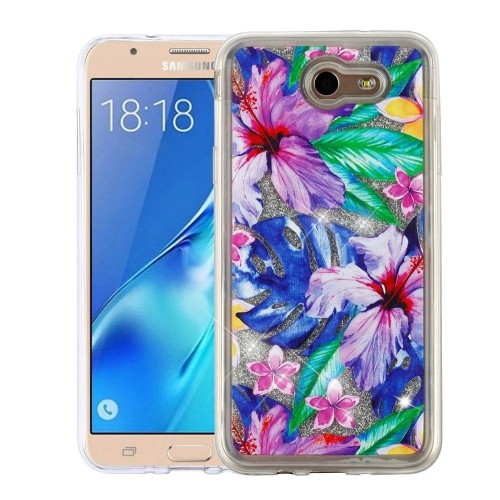 Insten Quicksand Glitter Hibiscus Flowers Hard Case For Samsung Galaxy Halo/J7 (2017)/J7 Perx/J7 V
