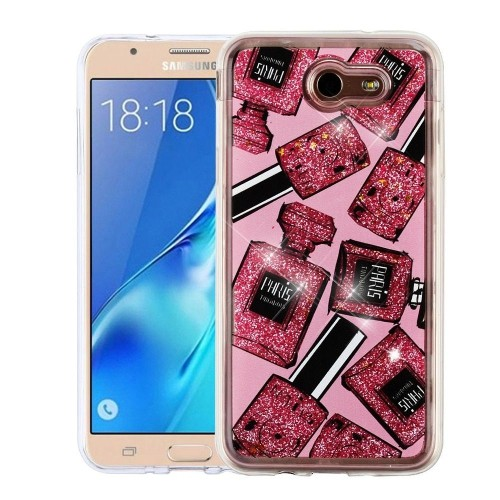 Insten Quicksand Glitter Perfume Bottle Hard Case For Samsung Galaxy J7 (2017)/J7 Perx/J7 V, Pink