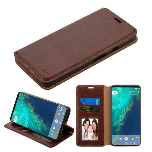 Insten Folio Leather Fabric Case w/stand/card slot/Photo Display For Google Pixel 2 XL, Brown