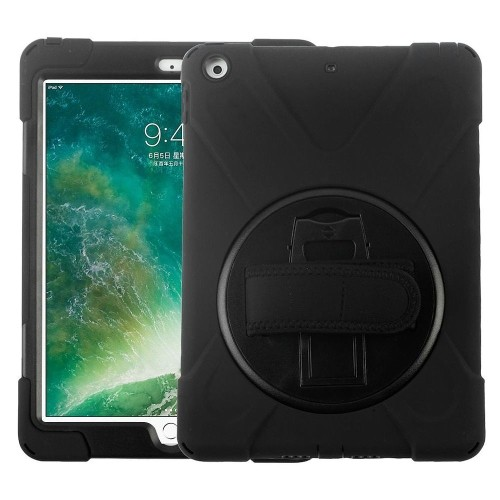 "Insten Hard Plastic TPU Case w/stand For Apple iPad 9.7"" (2017), Black"