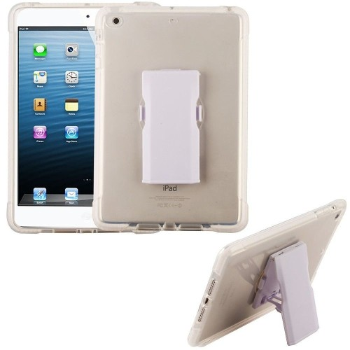 Insten Bumper Hard Plastic TPU Case w/Holster For Apple iPad Mini 1/2/3, Clear/White