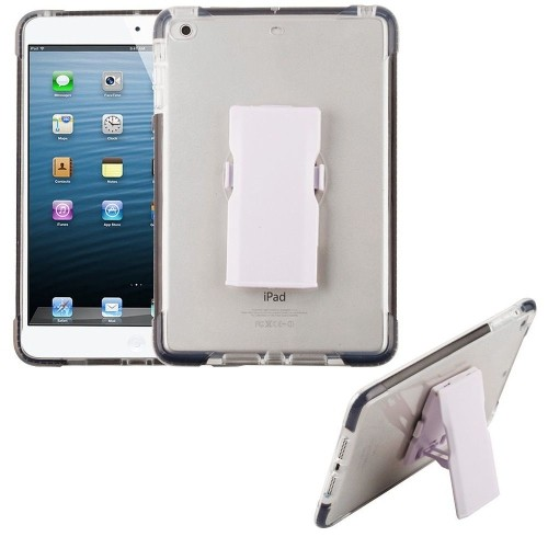 Insten Bumper Hard Plastic TPU Case w/Holster For Apple iPad Mini 1/2/3, Clear/Black