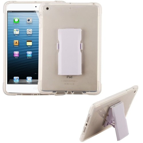 Insten Bumper Hard Plastic TPU Case w/Holster For Apple iPad Mini 4, Clear/White