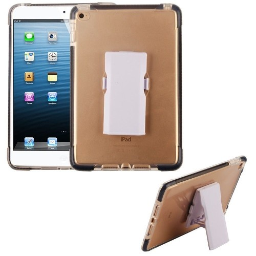 Insten Bumper Hard Plastic TPU Case w/Holster For Apple iPad Mini 4, Clear/Black