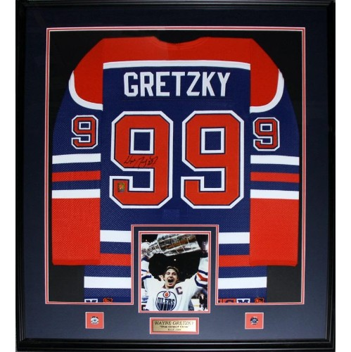 100% authentic 77080 d1eb0 Wayne Gretzky Edmonton Oilers Signed jersey frame (blue and orange)