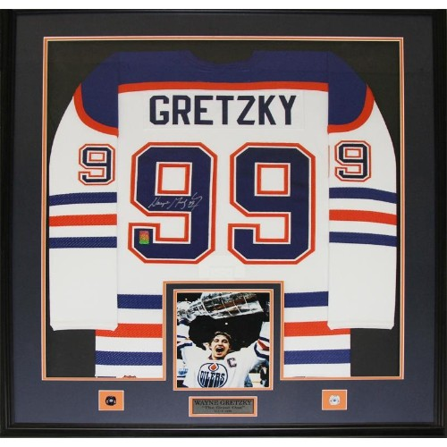 Wayne Gretzky Edmonton Oilers Signed jersey frame (white) - Online Only 848caede7