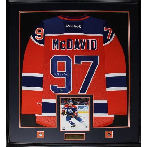 on sale 57720 32e73 Connor McDavid Edmonton Oilers signed jersey frame