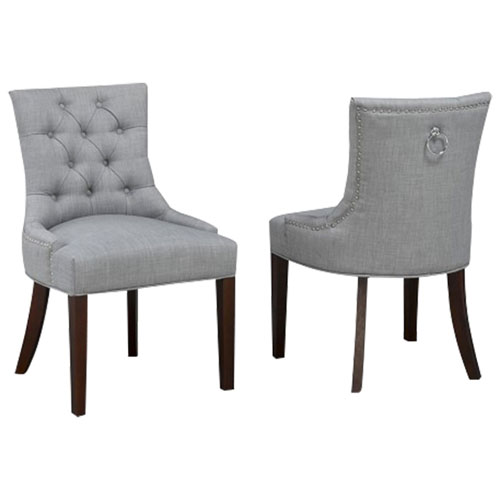 Brilliant Transitional Fabric Tufted Accent Chair Set Of 2 Grey Squirreltailoven Fun Painted Chair Ideas Images Squirreltailovenorg