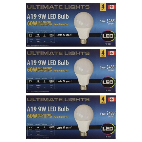 Ultimate Lights A19 60w Equivalent Led Light Bulb Bright White