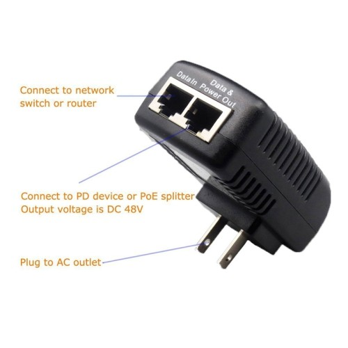 axGear PoE Power Injector 48V 0 5A Power Over Ethernet Adapter For POE IP  Camera