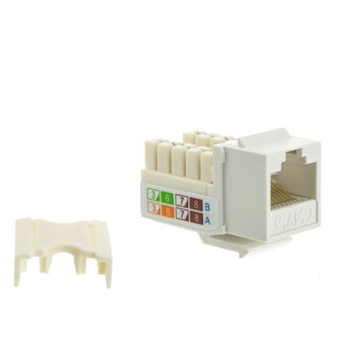 Beige Single Keystone Wallplate /& Jack Combo TechCraft Cat6 Keystone Kit