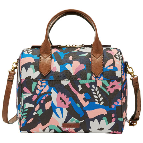f6c09bc3e0f9 Final Clearance Fossil Fiona Satchel Bag – Black Floral – Online Only