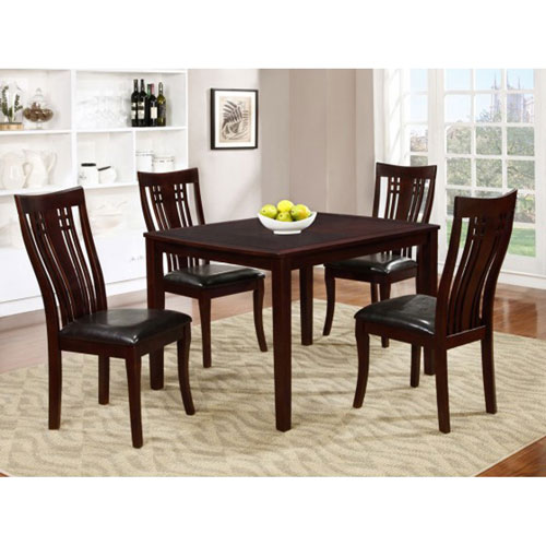 Fairmont Contemporary 5 Piece Dining Set Espresso Dining Sets